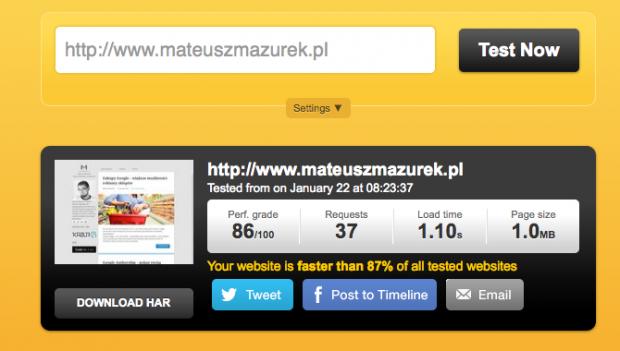 Pingdom - Website speed test